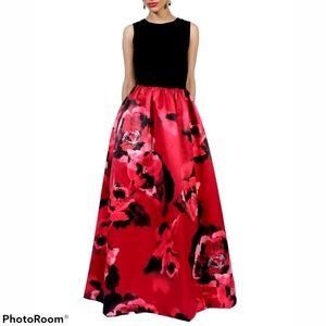 AIDIN MATTOX Sleeveless Floral Print Gown